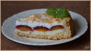 Kokosovo-vločkový koláč se švestkami