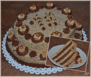 Velký oříškový dort s kávovým a čokoládovým krémem